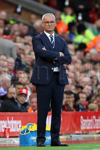 10.09.2016. Anfield, Liverpool, England. Premier League Football. Liverpool versus Leicester. Claudio Ranieri, manager of Leicester City looks on as his team trail 3-1.