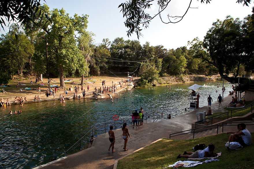 Barton Springs Pool brings cool relief to swimmers on a hot sweltering Texas summer day