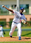 6 March 2006: Franquelis Osoria, pitcher for the Los Angeles Dodgers, winds up during a Spring Training game against the Washington Nationals. The Nationals and Dodgers played to a scoreless tie at Holeman Stadium, in Vero Beach Florida...Mandatory Photo Credit: Ed Wolfstein..