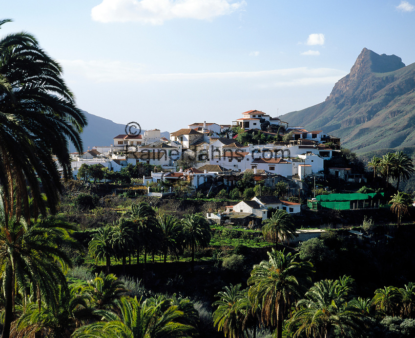 Spanien, Kanarische Inseln, Gran Canaria, Fataga, Bergdorf im Fataga-Tal   Spain, Canary Island, Gran Canaria, Fataga, mountain village at Fataga-Valley