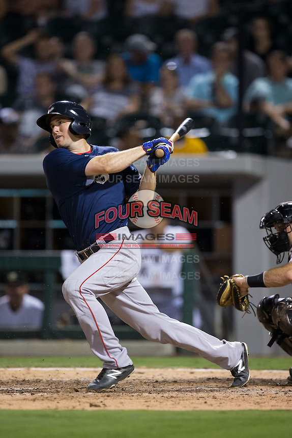 Jantzen Witte (31) of the Pawtucket Red Sox follows through on his swing against the Charlotte Knights at BB&T BallPark on July 6, 2016 in Charlotte, North Carolina.  The Knights defeated the Red Sox 8-6.  (Brian Westerholt/Four Seam Images)