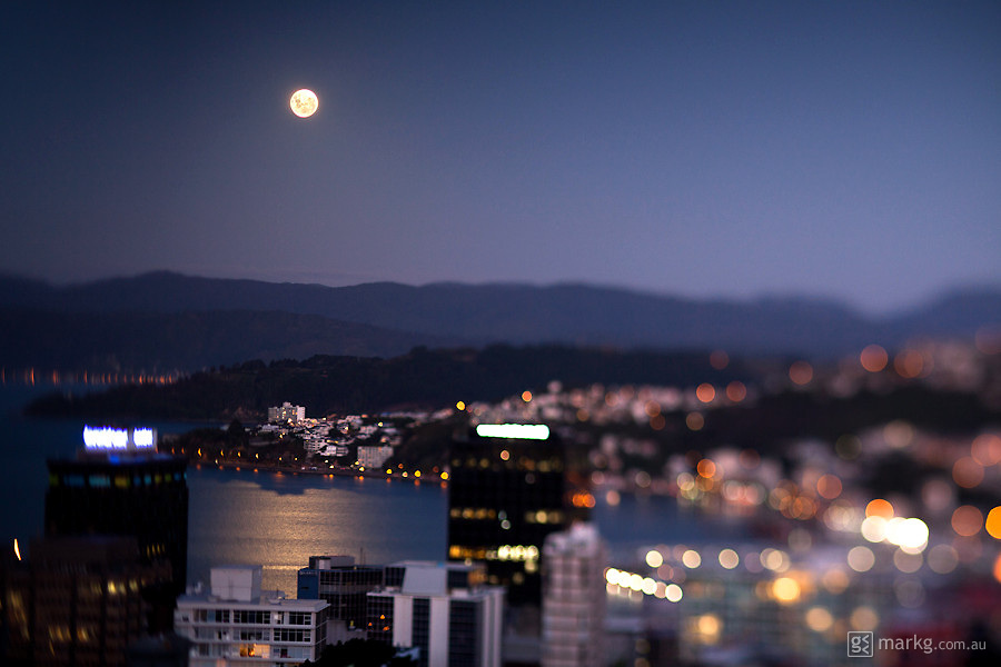 Sunday 20 March - the moon was bright, very bright...you can see it lighting up Wellington Harbour here with that bright reflection.