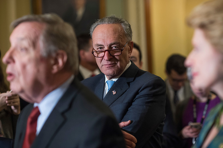 UNITED STATES - FEBRUARY 28: Senate Minority Leader Charles Schumer, D-N.Y., conducts a news conference after the Senate Policy luncheons in the Capitol, February 28, 2017. Sen. Richard Durbin, D-Ill., and Sen. Debbie Stabenow, D-Mich., also appear. (Photo By Tom Williams/CQ Roll Call)
