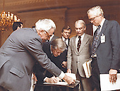 United States President Jimmy Carter signs the document freezing Iranian monies in this country at the White House in Washington, DC on November 14, 1979.<br /> Mandatory Credit: Bill Fitz-Patrick / White House via CNP