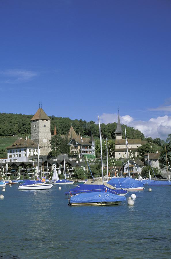 Sailboats at anchor, Spiez, Switzerland