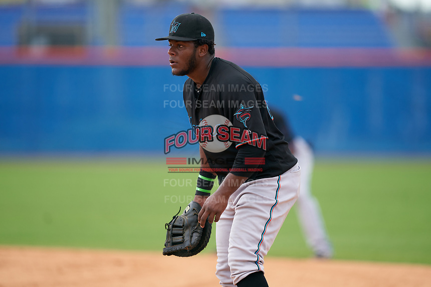 GCL Marlins first baseman Omar Lebron (30) during a Gulf Coast League game against the GCL Mets on August 11, 2019 at St. Lucie Sports Complex in St. Lucie, Florida.  The Marlins defeated the Mets 3-2 in the second game of a doubleheader.  (Mike Janes/Four Seam Images)