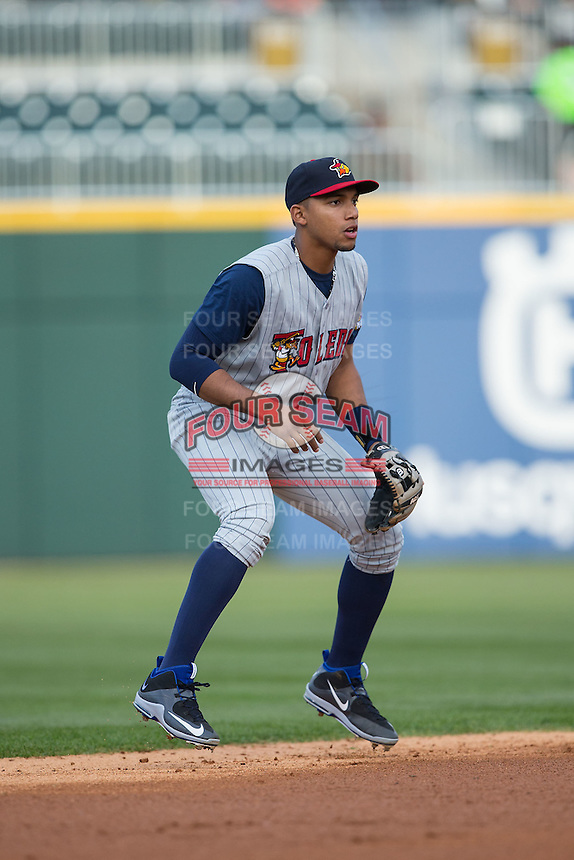 Toledo Mud Hens shortstop Dixon Machado (28) on defense against the Charlotte Knights at BB&T BallPark on April 27, 2015 in Charlotte, North Carolina.  The Knights defeated the Mud Hens 7-6 in 10 innings.   (Brian Westerholt/Four Seam Images)