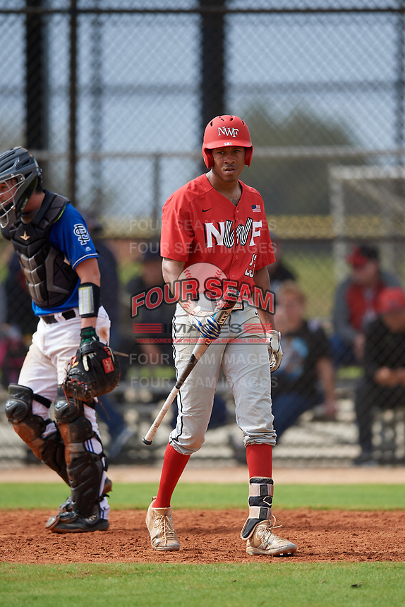 Northwest Florida Raiders Justice Thompson (23) at bat during a game against the St. Petersburg Titans on January 31, 2020 at Lake Myrtle Sports Park in Auburndale, Florida.  Northwest Florida defeated St. Petersburg 5-1.  (Mike Janes/Four Seam Images)