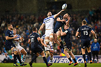 Elliott Stooke of Bath Rugby wins the ball in the air. Heineken Champions Cup match, between Leinster Rugby and Bath Rugby on December 15, 2018 at the Aviva Stadium in Dublin, Republic of Ireland. Photo by: Patrick Khachfe / Onside Images