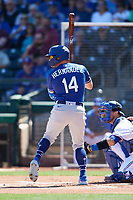 Enrique Hernandez (14) of the Los Angeles Dodgers at bat during a Cactus League Spring Training game against the Texas Rangers on March 8, 2020 at Surprise Stadium in Surprise, Arizona. Rangers defeated the Dodgers 9-8. (Tracy Proffitt/Four Seam Images)