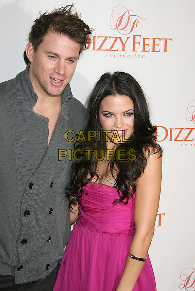 CHANNING TATUM & JENNA DEWAN.Dizzy Feet Foundation's 'Celebration of Dance' held at the Kodak Theatre, Hollywood, California, USA..November 29th, 2009.half length grey gray sweater cardigan jumper knitted pink dress married husband wife messy hair.CAP/ADM/MJ.©Michael Jade/AdMedia/Capital Pictures.