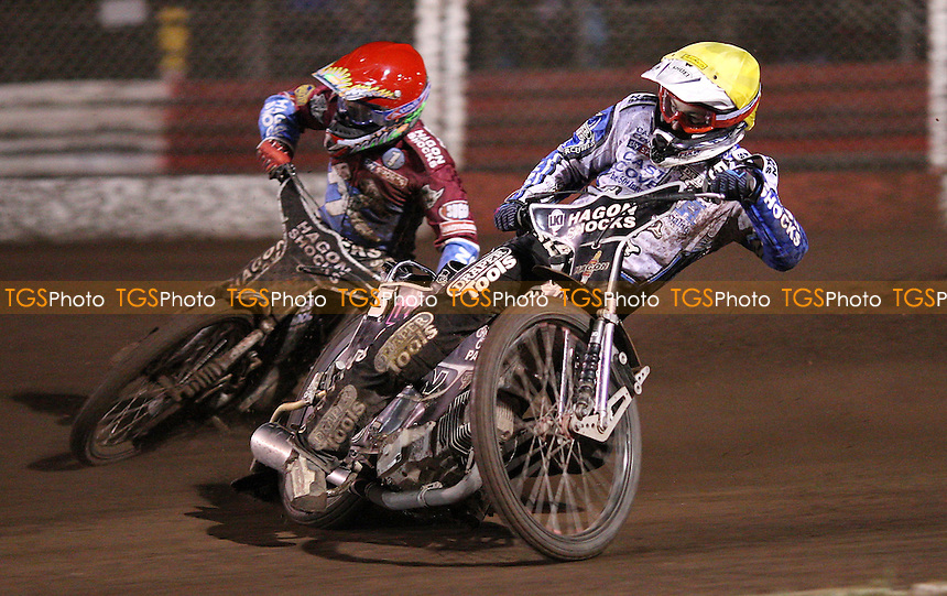 Heat 13: Lee Richardson (red) and Darcy Ward (yellow) - Lakeside Hammers vs Poole Pirates, Elite League Speedway at the Arena Essex Raceway, Purfleet - 22/07/11 - MANDATORY CREDIT: Rob Newell/TGSPHOTO - Self billing applies where appropriate - 0845 094 6026 - contact@tgsphoto.co.uk - NO UNPAID USE.