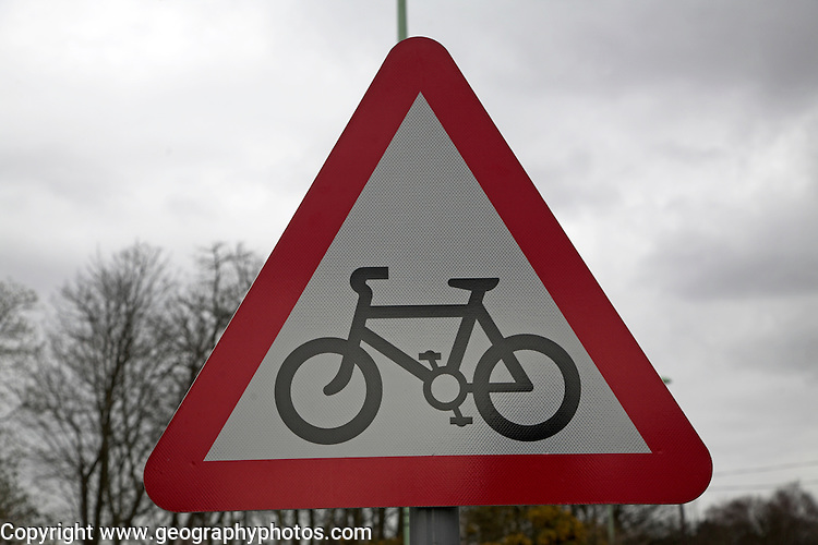 Red triangle bicycle sign