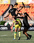 3rd February 2019, Spotless Stadium, Sydney, Australia; HSBC Sydney Rugby Sevens; New Zealand versus Australia; Womens Final; Sarah Hirini of New Zealand falls on the back of Sharni Williams of Australia after the kick off is dropped