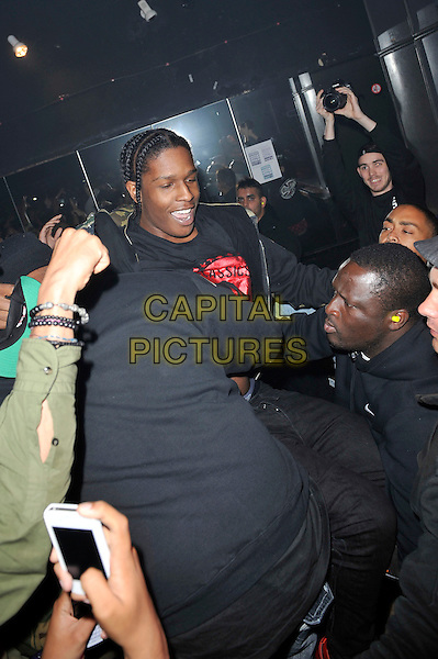 A$AP Rocky (Rakim Mayers) performing live in concert, Electric Ballroom, Camden, London, England. .5th June 2012.on stage in concert live gig performance music half length black crowd audience fans.CAP/MAR.© Martin Harris/Capital Pictures.