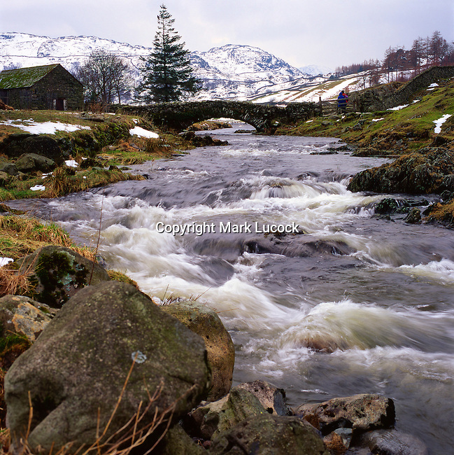 River in spate, Watenlath, Lake District