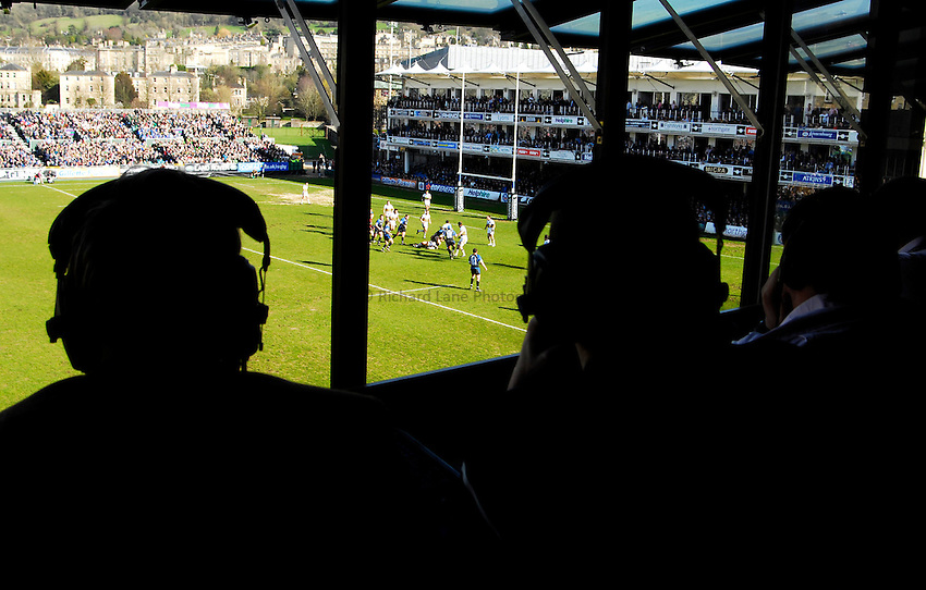 Photo: Alan Crowhurst..Bath Rugby v Northampton Saints. Guinness Premiership. 10/03/2007. A view from the radio commentators box.