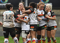 Picture by Anna Gowthorpe/SWpix.com - 15/04/2018 - Rugby League - Womens Super League - Bradford Bulls v Leeds Rhinos - Coral Windows Stadium, Bradford, England - Bradford Bulls' Kirsty Moroney is congratulated by her team-mates after scoring a try