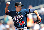 Reno Aces' Joe Martinez pitches against the Tuscon Padres during a minor league baseball game in Reno, Nev. on Monday, Sept. 3, 2012. The Aces won 2-1..Photo by Cathleen Allison