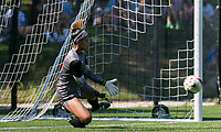 Newton, Massachusetts - September 24, 2017: NCAA Division I. Boston College (white) defeated Wake Forest University (black), 1-0, at Newton Campus Soccer Field.Penalty kick save.