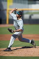 Coastal Carolina Chanticleers starting pitcher Zach McCambley (39) in action against the Duke Blue Devils at Segra Stadium on November 2, 2019 in Fayetteville, North Carolina. (Brian Westerholt/Four Seam Images)