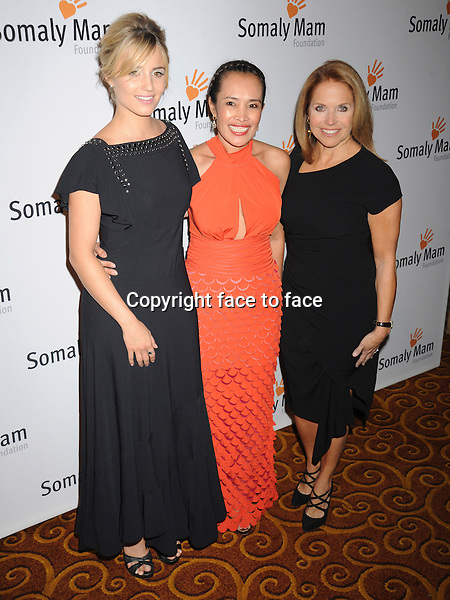 NEW YORK, NY - OCTOBER 23: Dianna Agron, Somaly Mam, Katie Couric at Somaly Mam Foundation's &quot;Life Is Love&quot; Gala to celebrate hope, action and change in the fight to end slavery at Gotham Hall in New York. October 23, 2013. <br />