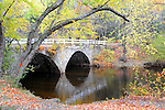 Stone Arch Bridge with Fall Foliage in Keene, New Hampshire USA