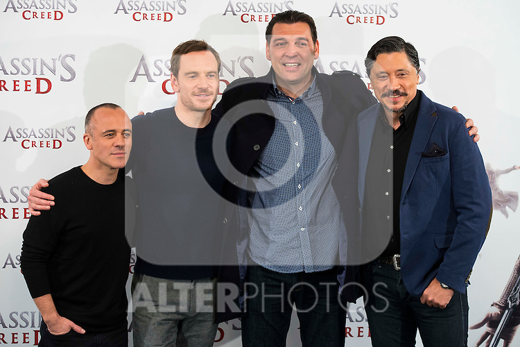 "Javier Gutierrez, Michael Fassbender, Hovik Keuchkerian and Carlos Bardem during the presentation of the film ""Assassin's Creed"" in Madrid, Spain. December 07, 2016. (ALTERPHOTOS/BorjaB.Hojas)"
