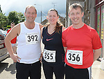 Frank Lynch, Petra and Sean Clarke who took part in the Turfman 10K run in Ardee. Photo:Colin Bell/pressphotos.ie