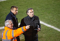 Wycombe Wanderers Manager Gareth Ainsworth who will watch the match from the stands as he serves a one match ban stands with Wycombe Wanderers Chairman Andrew Howard as a steward shows him his seat before the Sky Bet League 2 match between Colchester United and Wycombe Wanderers at the Weston Homes Community Stadium, Colchester, England on 21 February 2017. Photo by Andy Rowland / PRiME Media Images.