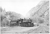 C-19 #340 being turned on Ouray turntable.<br /> D&amp;RGW  Ouray, CO  Taken by Maxwell, John W. - 5/26/1949