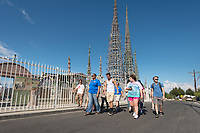 Incoming first-years participate in Oxy Engage with a visit to the Watts Towers in Los Angeles on Aug. 20, 2014, just one of the stops as part of the Social Justice group.<br /> (Photo by Marc Campos, Occidental College Photographer)