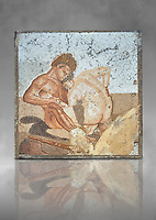 Roman Mosaic of Satyr and Ninfa from the Casa del Fauno (House of the Faun) Pompeii, inv 27707 , Naples National Archaeological Museum , grey art background
