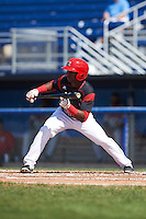 Batavia Muckdogs shortstop Samuel Castro (25) squares to bunt during the first game of a doubleheader against the Auburn Doubledays on September 4, 2016 at Dwyer Stadium in Batavia, New York.  Batavia defeated Auburn 1-0 in a continuation of a game started on August 13. (Mike Janes/Four Seam Images)