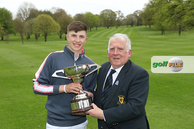 John Ferriter (Chairman Leinster Golf) presenting Alex Maguire, Laytown &amp; Bettystown (Under 17 Winner) after his victory at Headfort Golf Club in th final round of the Leinster Boys, Headford Golf Club, Kells, Co. Meath. 21/04/2017.<br /> Picture: Golffile | Fran Caffrey<br /> <br /> <br /> All photo usage must carry mandatory copyright credit (&copy; Golffile | Fran Caffrey)