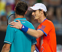 ANDY MURRAY (GBR) against MICHAEL LLODRA (FRA)    in the third round of the Men's Singles. Andy Murray beat Michael Llodra 6-4 6-2 6-0..21/01/2012, 21st January 2012, 21.01.2012..The Australian Open, Melbourne Park, Melbourne,Victoria, Australia.@AMN IMAGES, Frey, Advantage Media Network, 30, Cleveland Street, London, W1T 4JD .Tel - +44 208 947 0100..email - mfrey@advantagemedianet.com..www.amnimages.photoshelter.com.