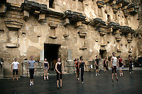 Dancers of The Royal Ballet Covent Garden in class at the Aspendos Theatre, Antalya, Turkey