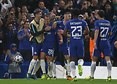 12th September 2017, Stamford Bridge, London, England; UEFA Champions League Group stage, Chelsea versus Qarabag FK; Cesar Azpilicueta of Chelsea celebrates with his players after scoring from a header in the 55th minute to make it 3-0