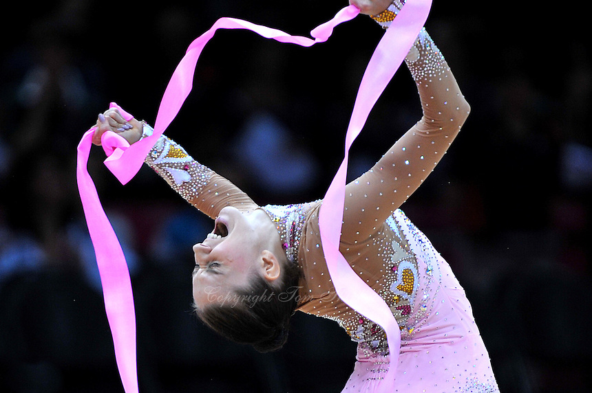 August 11, 2012; London, Great Britain;  LIUBOV CHARKASHYNA of Belarus performs with ribbon to win bronze in rhythmic gymnastics individual All-Around final at London 2012 Olympics. The moment Luba knew she did it.