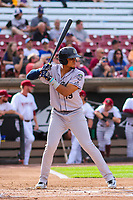 Kane County Cougars third baseman Ramon Hernandez (19) at bat during game one of a Midwest League doubleheader against the Wisconsin Timber Rattlers on June 23, 2017 at Fox Cities Stadium in Appleton, Wisconsin.  Kane County defeated Wisconsin 4-3. (Brad Krause/Four Seam Images)