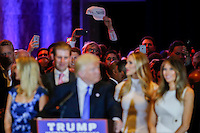 NEW YORK, NY - MAY 3 : Supporters listen to U.S. Republican presidential candidate Donald Trump as he gives his post-election remarks on May 3, 2016 in Manhattan, New York. Front-running Republican candidate Trump won Indiana's Republican primary, moving him closer to claiming the party's nomination. Photo by VIEWpress