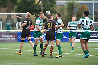 David Johnston of Ealing Trailfinders celebrates scorin a try during the RFU Championship Cup match between Ealing Trailfinders and Ampthill RUFC at Castle Bar , West Ealing , England  on 28 September 2019. Photo by Alan  Stanford / PRiME Media Images