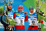 From left KAZ Mark Starostin, Russia's Raul Shakirzyanov and Pavel Syulatov at the podium of the Men Skiathlon event as part of the Trentino 2013 Winter Universiade Italy on 12/12/2013 in Lago Di Tesero, Italy.<br /> <br /> &copy; Pierre Teyssot - www.pierreteyssot.com