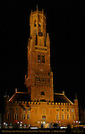 Belfort Bell Tower and Cloth Hall 1240, North Side at Night, Market Square, Bruges, Brugge, Belgium