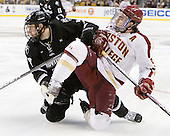 Drew Brown (PC - 7), Barry Almeida (BC - 9) - The Boston College Eagles defeated the Providence College Friars 4-2 in their Hockey East semi-final on Friday, March 16, 2012, at TD Garden in Boston, Massachusetts.