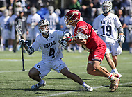 Washington, DC - March 31, 2018: Georgetown Hoyas Daniel Bucaro (4) gets knocked down during game between Denver and Georgetown at  Cooper Field in Washington, DC.   (Photo by Elliott Brown/Media Images International)