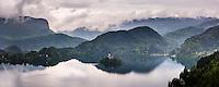 Lake Bled view from Lake Bled Castle, Bled, Julian Alps, Gorenjska, Upper Carniola Region, Slovenia, Europe
