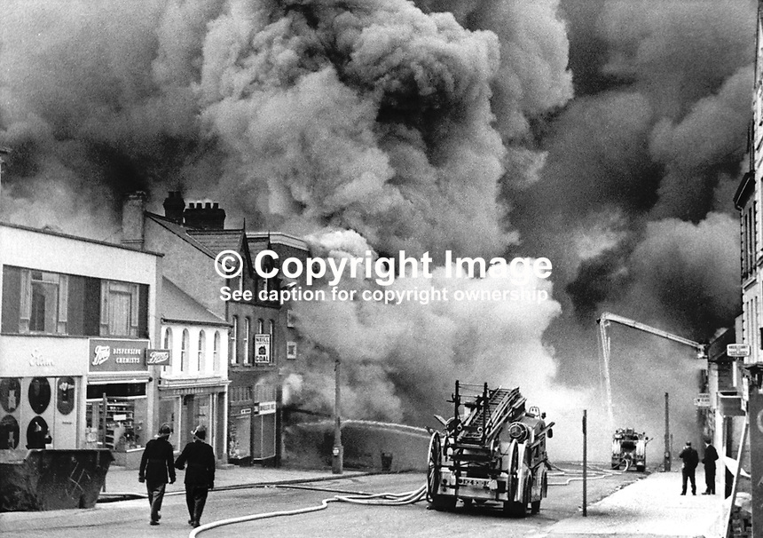 Bangor, Co Down, N Ireland, ablaze after 15 Provisional IRA bombs devastated the town centre. 197404040215a, 215/74.<br />