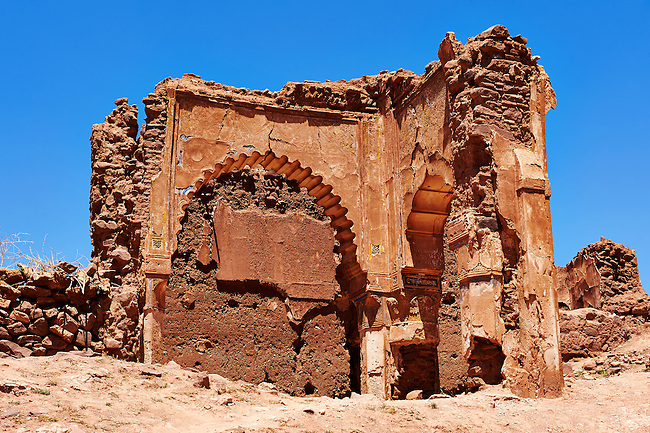 Exterior of the mud brick Berber Kasbah Telouet, Atlas Mountains Morocco