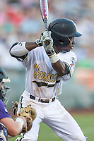 Vanderbilt Commodores designated hitter Ro Coleman (1) at bat against the TCU Horned Frogs in Game 12 of the NCAA College World Series on June 19, 2015 at TD Ameritrade Park in Omaha, Nebraska. The Commodores defeated TCU 7-1. (Andrew Woolley/Four Seam Images)